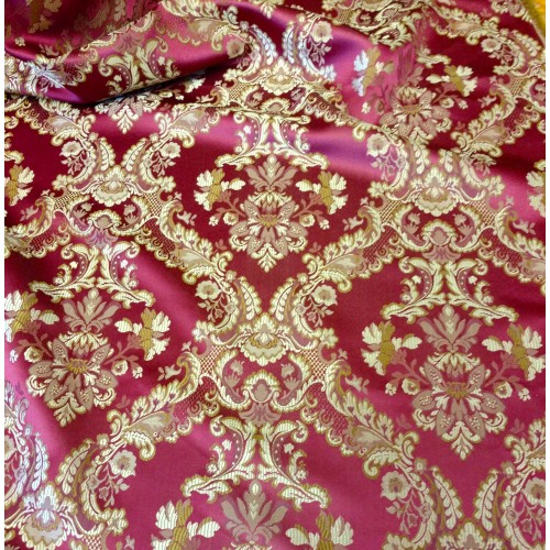 Jacquard Damask Color Burgundy Fabric Sold By The Yard